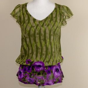 DKNY Green & Purple Ruffle Top Petites Size P